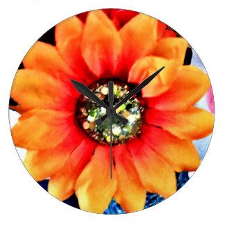 Glitter Sunflower Large Clock