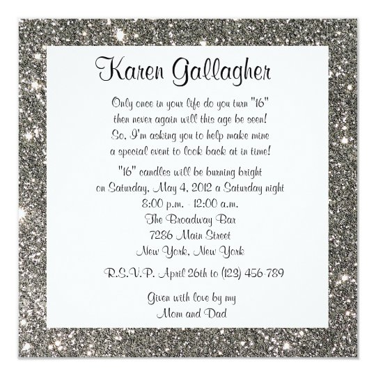 Glitter Sweet 16 Birthday Party Custom Invitation