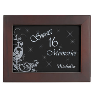 Glitter Swirl Sweet Sixteen Personalized Keepsake Box