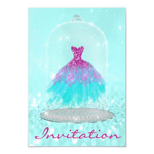 Glitter Tiffany Pink Diamond Dress Sweet 16th Gray Card