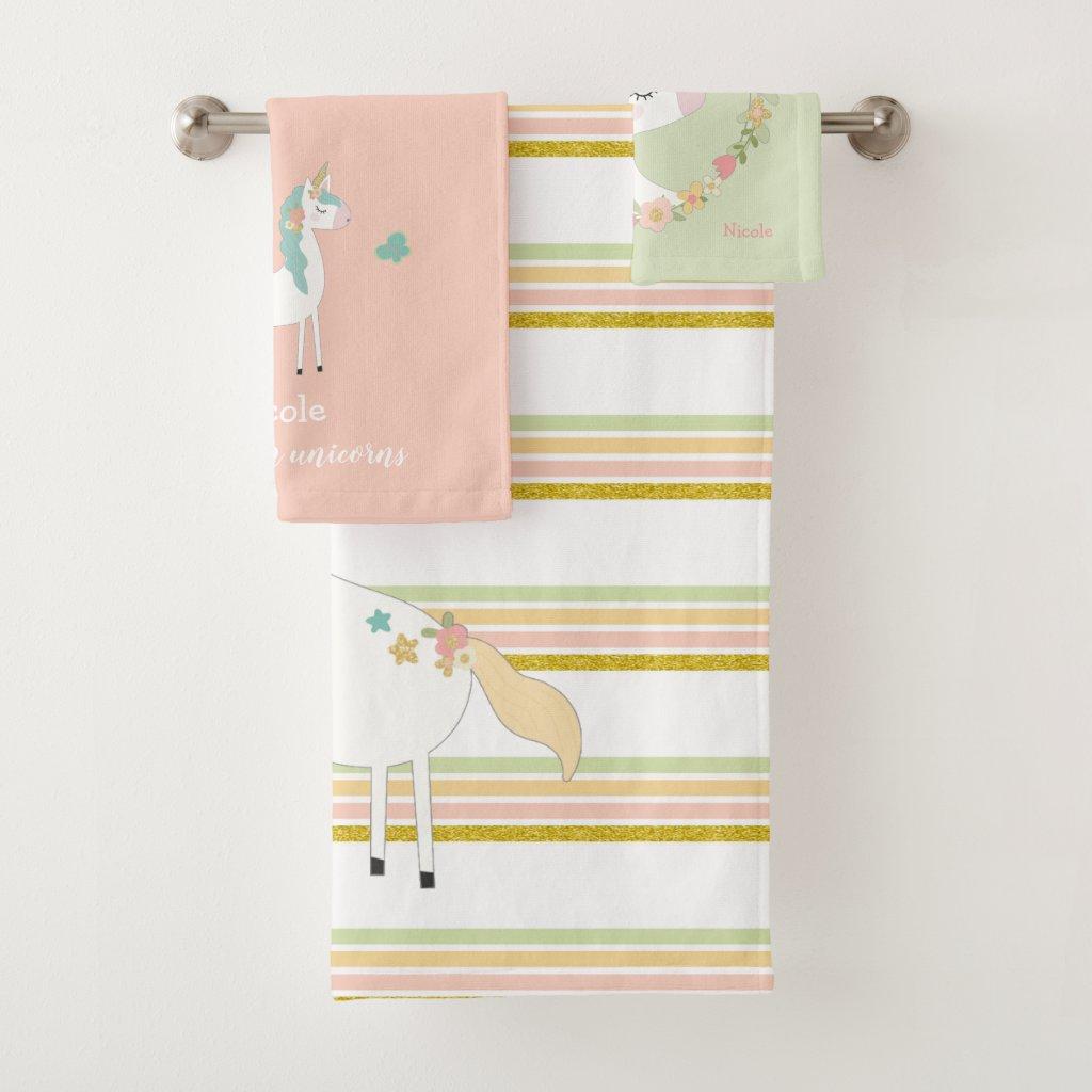 Glitter Unicorn bath towel set with name