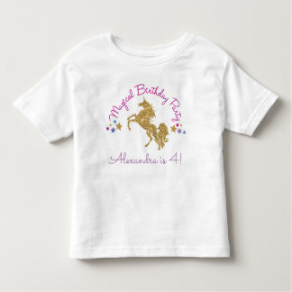 Glitter Unicorn Magical Girl Birthday T-Shirt