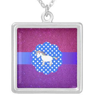 Glitter unicorn silver plated necklace