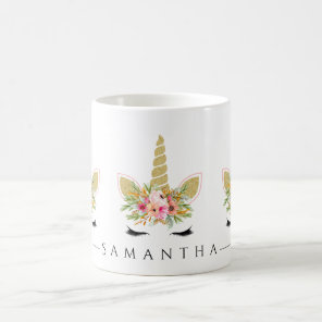 Glitter Unicorn With Watercolor Floral Bouquet Coffee Mug