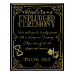 glitter Unplugged wedding sign no phones