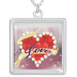 glitter valentine square pendant necklace