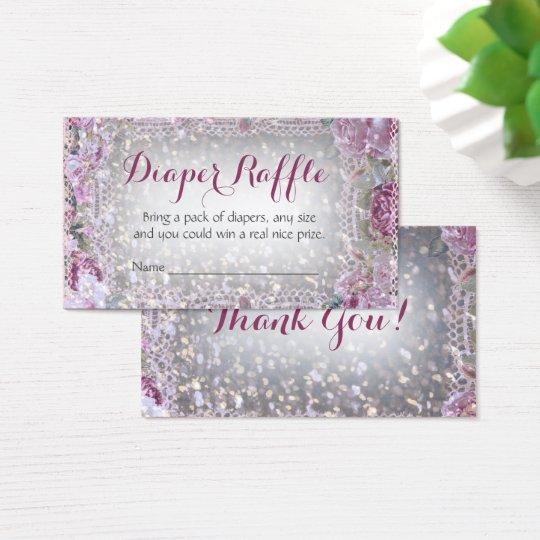Glitter Vintage Chic Baby Diaper Raffle Ticket
