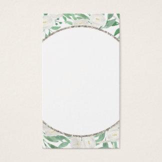 Glitter Watercolor Flowers Blank Vertical Card