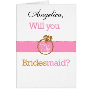 Glitter Will You Be My Bridesmaid Invitation Card