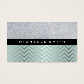 Glitter with Green Silver Chevron Pattern