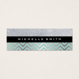 Glitter with Green Silver Chevron Pattern Mini Business Card