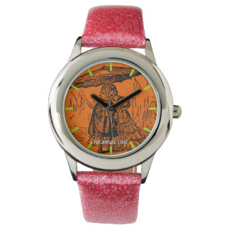 Glitter with Pink Glitter Strap dog and the cat Watch