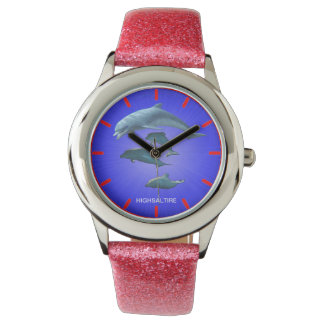 Glitter with Pink Glitter Strap dolphin watch