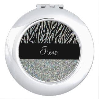 Glitter zebra Monogram Compact Mirror