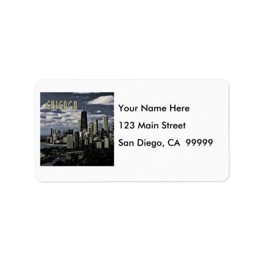 Glittering Chicago Skyline TEXT Chicago Address Label