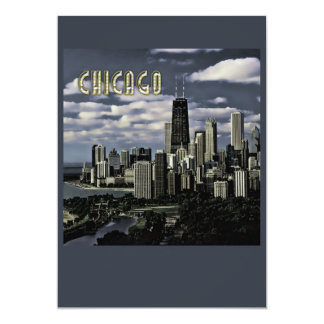 Glittering Chicago Skyline TEXT Chicago Card