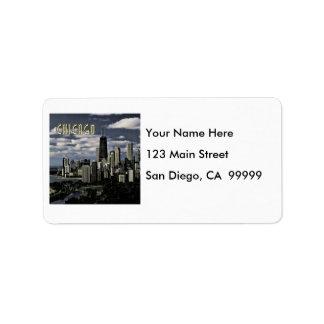 Glittering Chicago Skyline TEXT Chicago Label