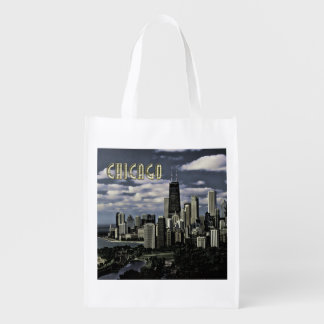Glittering Chicago Skyline TEXT Chicago Reusable Grocery Bag