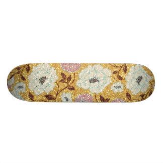 Glittering Fall Floral Brocade Tapestry Skate Board Decks