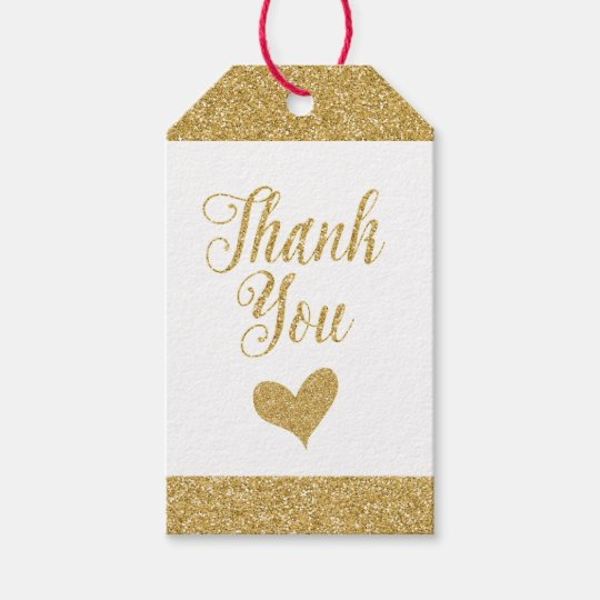 Glittering Gold Gift Tags - Thank You with