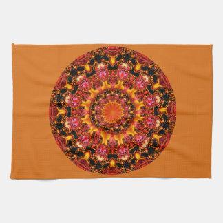Glittering Gold Mandala, Abstract Red Orange Amber Tea Towel