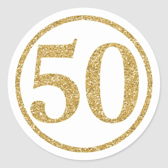Glittering Gold Number 50 Anniversary Classic Round Sticker