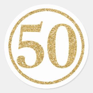 Glittering Gold Number 50 Anniversary Round Sticker