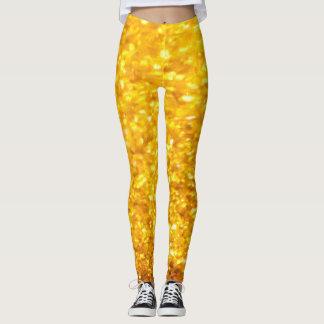 Glittering Gold Texture Pattern Leggings