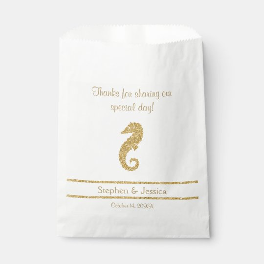 """Glittering Gold """"ThanksSharing Our Day"""" Favour Bags"""
