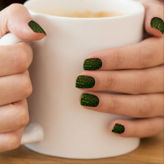 Glittering green metal abstract digital pattern minx nail art