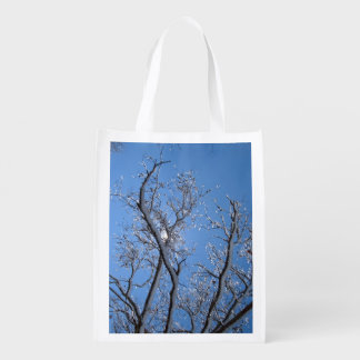 Glittering Ice Snow Covered Tree Reusable Grocery Bag