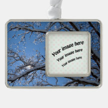 Glittering Ice Snow Covered Trees Silver Plated Framed Ornament
