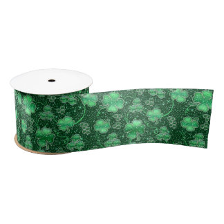 Glittering Shamrocks and Swirls ID289 Satin Ribbon