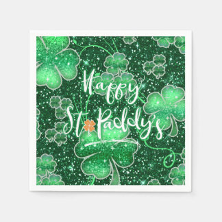 Glittering Shamrocks Happy St. Paddy's ID289 Paper Napkin