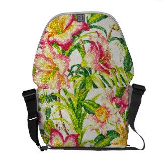 Glittering Spring Floral Tapestry Messenger Bag