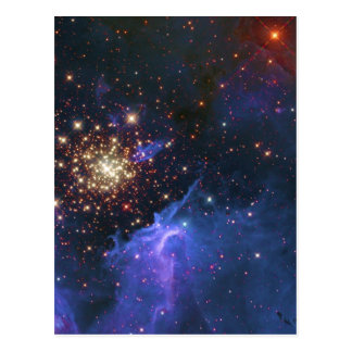 Glittering Star Cluster and Interstellar Gas Cloud Post Card