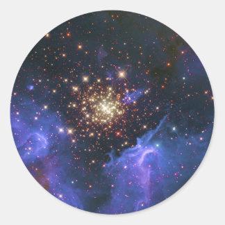Glittering Star Cluster and Interstellar Gas Cloud Round Sticker