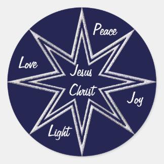 Glittering stars round stickers