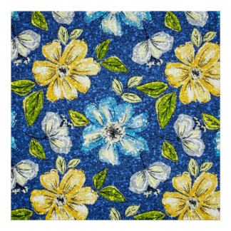 Glittering Tapestry Floral Poster