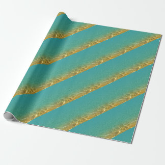 Glittering Teal Blue and Gold Water Ripples Wrapping Paper