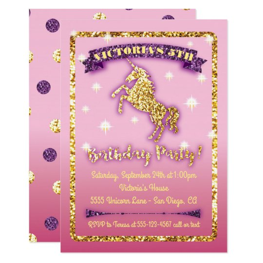Glittering Unicorn Birthday Party Invitation