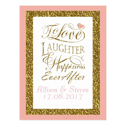 Glittering wedding invitation design postcard