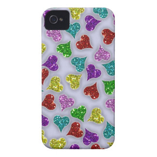 Glitters Hearts On White Background Case-Mate iPhone 4 Cases