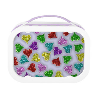 Glitters Hearts On White Background Lunch Box
