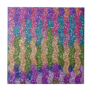 Glitters in Waves Small Square Tile