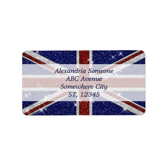 Glitters Shiny Sparkle Union Jack Flag Address Label