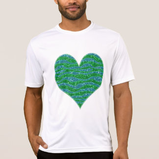Glitters Zebra Stripes Glitters Green Blue Tee Shirts