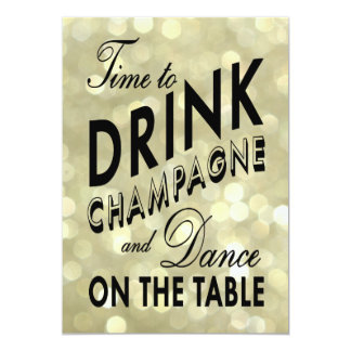 Glittery 40th Birthday Time to Drink Champagne 13 Cm X 18 Cm Invitation Card