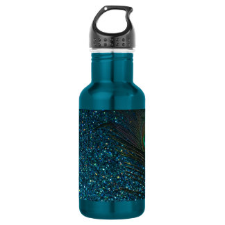 Glittery Aqua Peacock 532 Ml Water Bottle