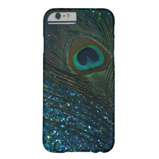 Glittery Aqua Peacock Barely There iPhone 6 Case